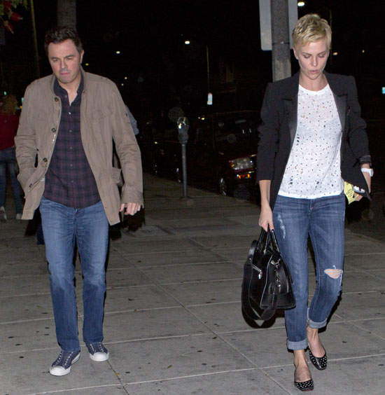 Charlize Theron and Seth Macfarlane were seen giggling and laughing as they left dinner together at Matsuhisa Restaurant in Beverly Hills, CA